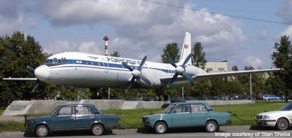 An IL-18 showcased at Sheremetyevo International Airport in Moscow.