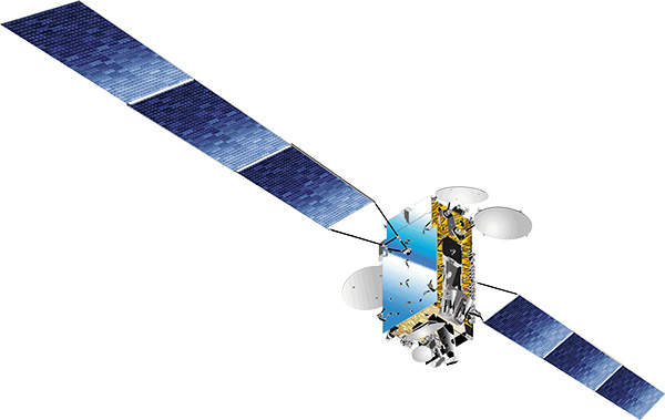 The APSTAR 7 satellite used the Spacebus 4000 C2 Platform, developed by Thales Alenia Space France. Image courtesy of APT Satellite Company Limited.