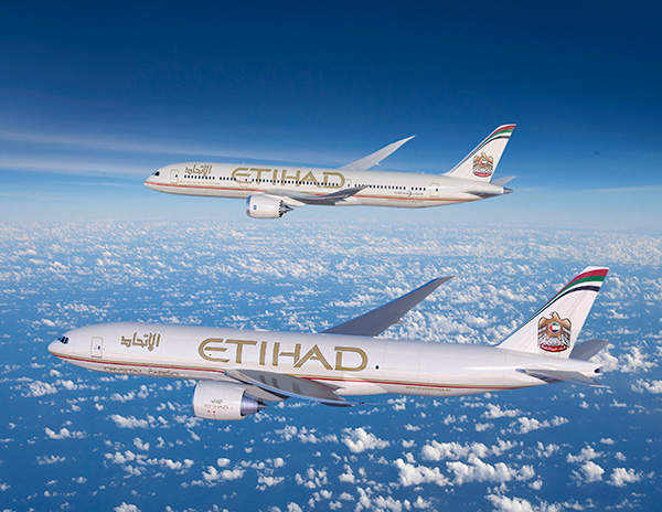 A graphical image showing the 787-9 and 777 Freighter in Etihad's colour scheme. Credit: Boeing.