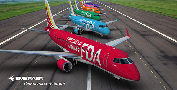 Fuji Dream Airlines, based in Japan, ordered a total of eight E-Jets including the E175 passenger jets.