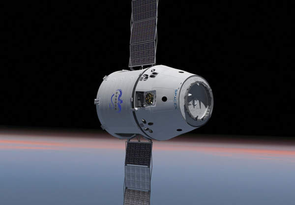 The Dragon is the first commercial spacecraft to dock at the International Space Station. Image courtesy of SpaceX.