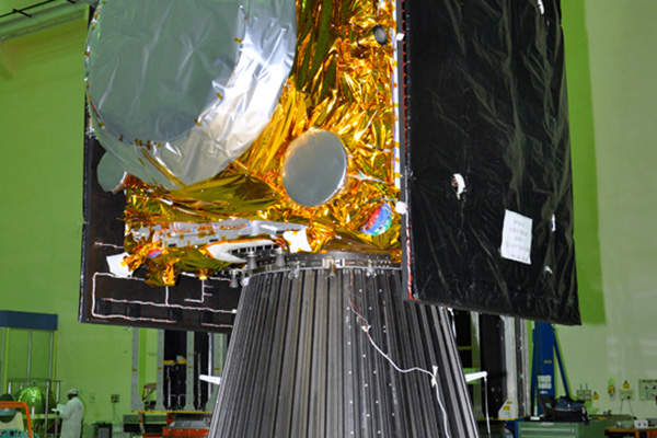 The satellite has two solar panels with ultra triple junction solar cells. Image courtesy of Indian Space Research Organisation (ISRO).