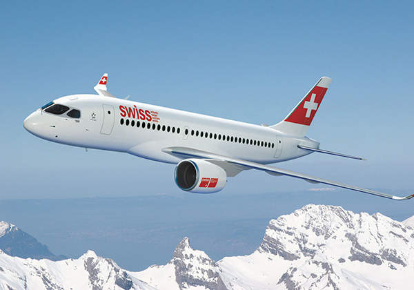 An artist's impression of the CS100 in the colour scheme of Swiss International Air Lines.