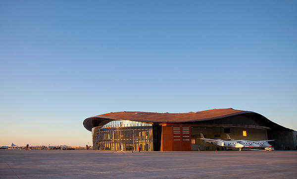 The terminal hangar facility at Spaceport America was dedicated for Virgin Galactic in October 2011. Image courtesy of Virgin Galactic.