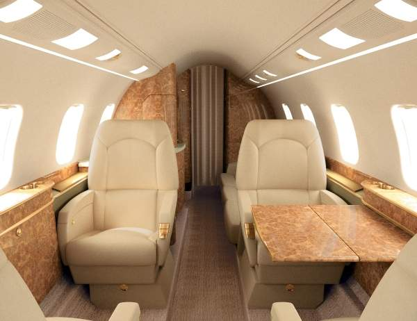 The 5.39m long, 1.81m wide and 1.74m high roomy cabin of the Learjet 60XR accommodates nine passengers. Image courtesy of Bombardier Business Aircraft public relations.