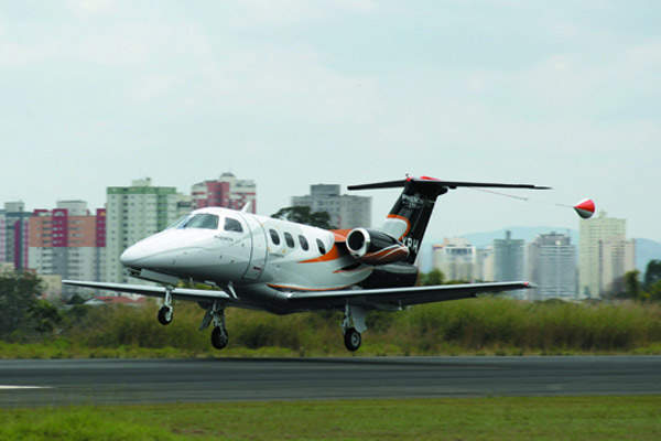 The Phenom 100 taking off on its first flight in Sao Jose dos Campos, Sao Paulo, Brazil.