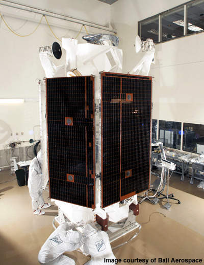 The fully assembled WorldView-1 satellite.