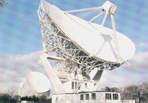 The smaller Mark II radio telescope, with its 25m x 38m elliptical bowl, can be connected to the Lovell Telescope to form an interferometer.