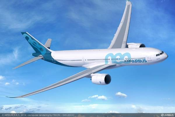 The new A330-900neo medium range wide-body aircraft was unveiled during the 2014 Farnborough Air Show.