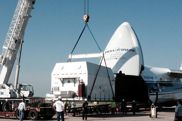 The satellite was shipped to the Cape Canaveral Air Force Station in Florida in July 2014.
