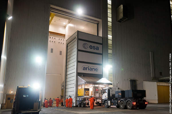 The satellite was shipped to the ELA-3 complex located in French Guiana for launch operations.