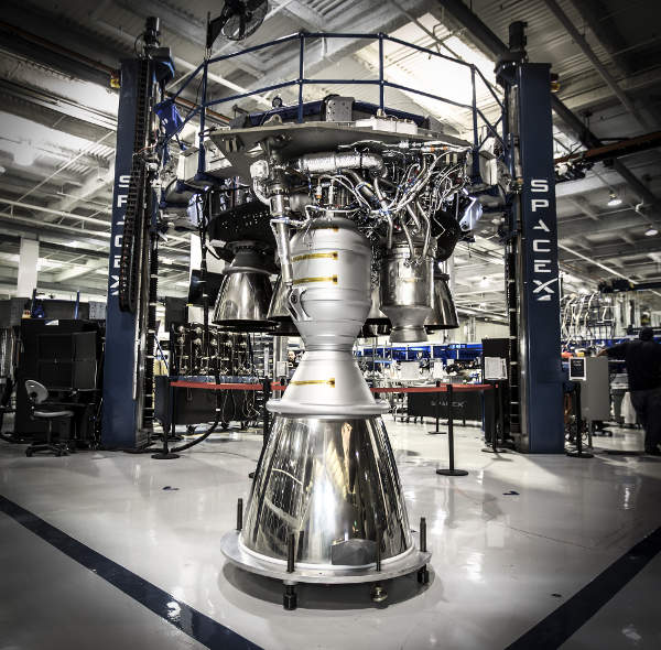 The first stage of Falcon Heavy is powered by 27 Merlin engines. Image: courtesy of Space Exploration Technologies Corporation.