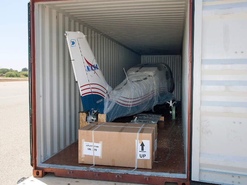 The P2006T aircraft was shipped from Naples, Italy, in July 2016. Image: NASA Photo / Ken Ulbrich.