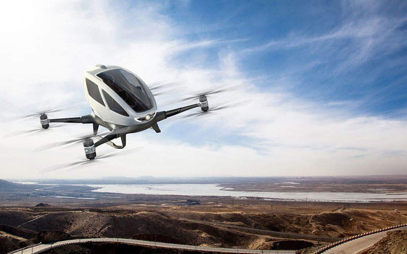 The aircraft flies in an inverted U-shape. Image: courtesy of EHang, Inc.