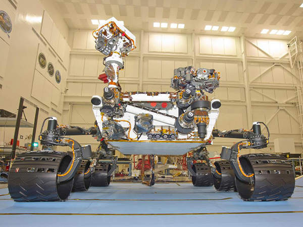 The Mars Science Laboratory rover, Curiosity inside the Spacecraft Assembly Facility at NASA's Jet Propulsion Laboratory. Image courtesy of NASA/JPL-Caltech.
