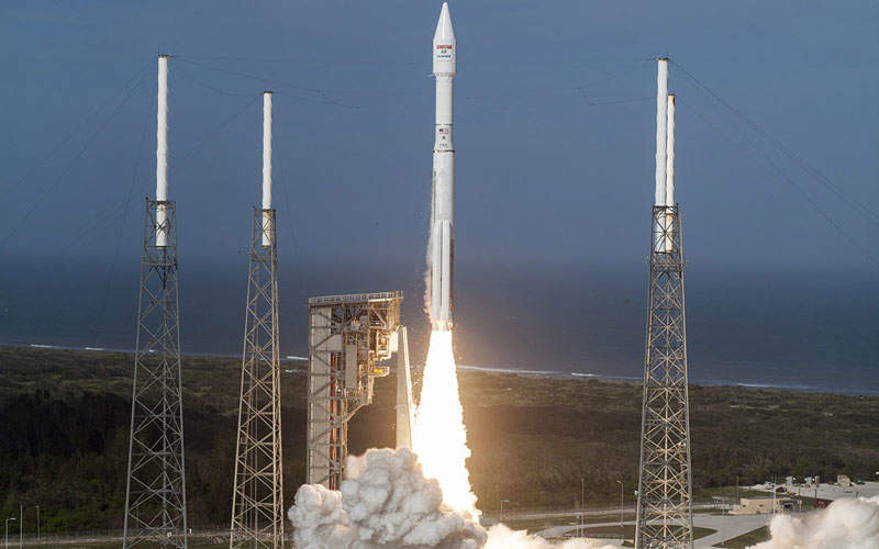 The satellite was launched atop United Launch Alliance (ULA) Atlas V 431 rocket in December 2016. Image courtesy of Lockheed Martin Corporation.