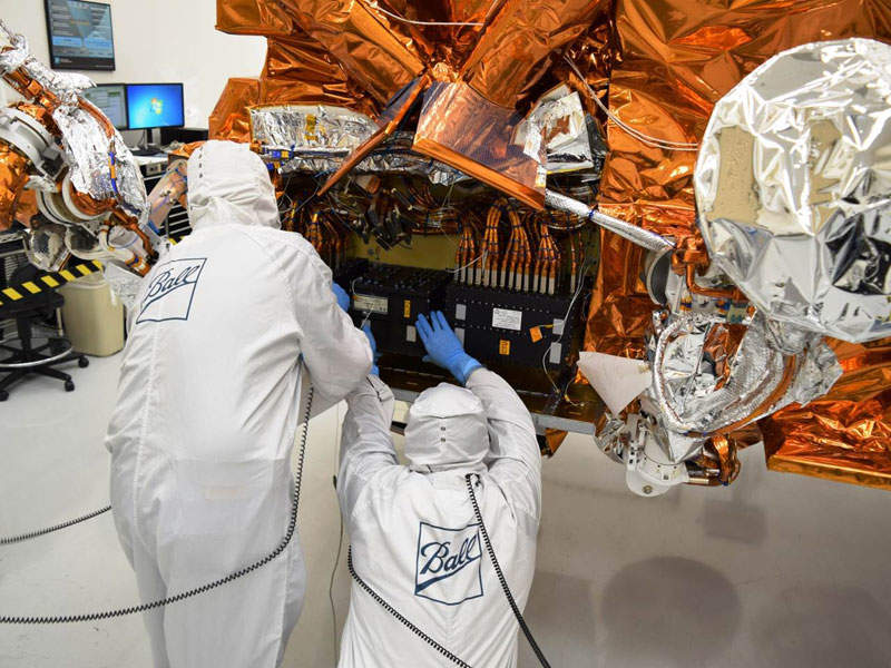 NOAA-20 satellite was designed and manufactured by Ball Aerospace. Image courtesy of National Oceanic and Atmospheric Administration (NOAA).