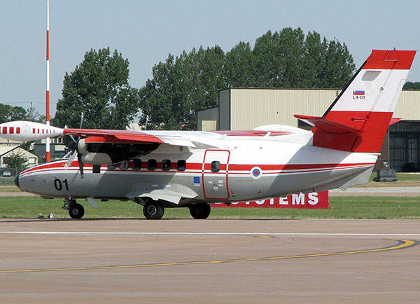 A Let L-410UVP-E of the Slovenian Armed Forces on the taxiway at the Royal International Air Tattoo.