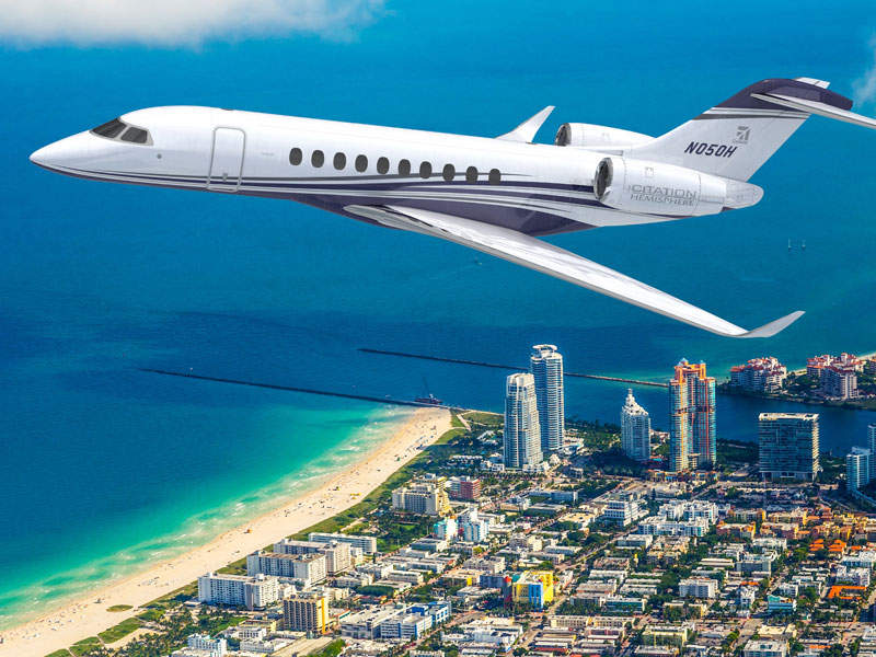 The Citation Hemisphere will have the widest cabin in its class, at 102in. Image: courtesy of Textron Aviation.