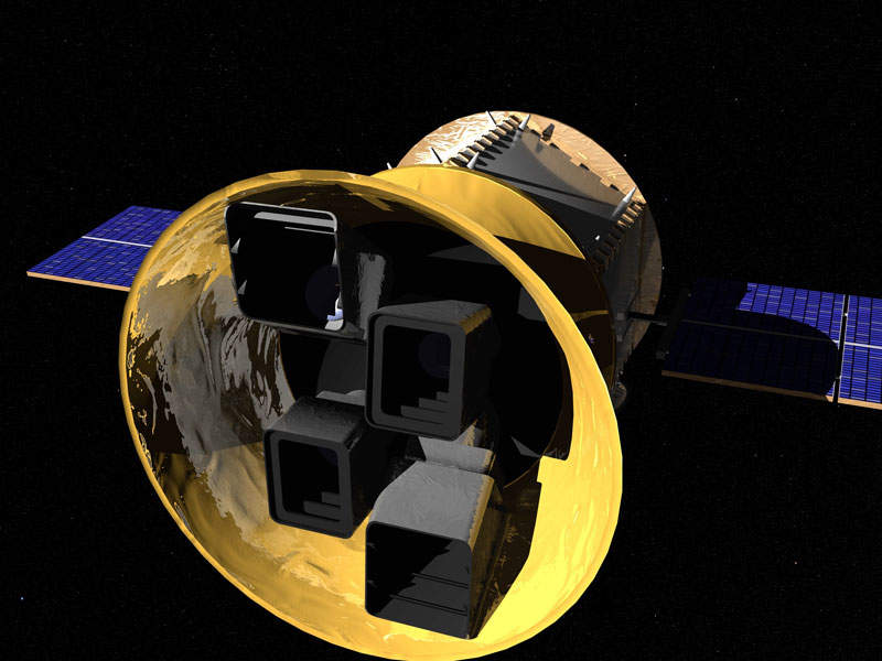 The satellite  is equipped with four field-of-view CCD cameras. Image: courtesy of Nasa's Goddard Space Flight Center/Chris Meaney.