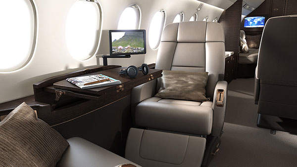 Falcon 900LX cabin includes three wide lounges.