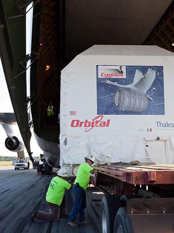 Cygnus PCM module was transported to Nasa's Wallops flight facility in Virginia in August 2011.