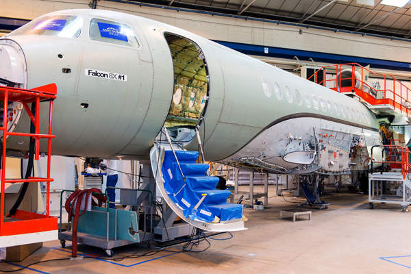 The first airframe assembling and aircraft production are underway at Dassault facility located at Bordeaux/Mérignac in France. Image courtesy of Dassault Aviation.