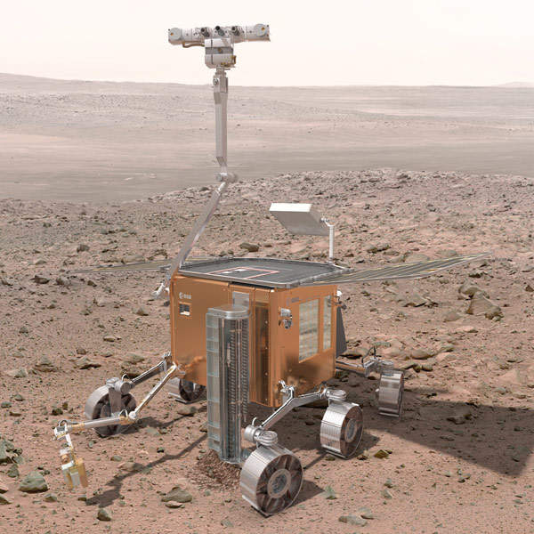 The ExoMars rover will gather data on the martian geology and environment, as well as determine the present and past signs of life on the Red Planet. Image courtesy of ESA.