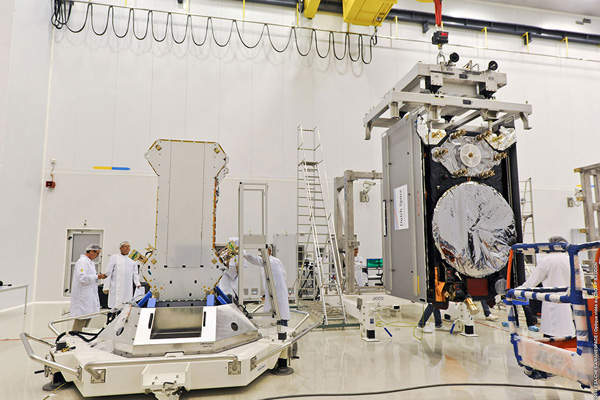 Galileo spacecraft FM1 is moved for positioning on the payload dispenser, which was developed by RUAG Space Sweden. Image courtesy of Arianespace.
