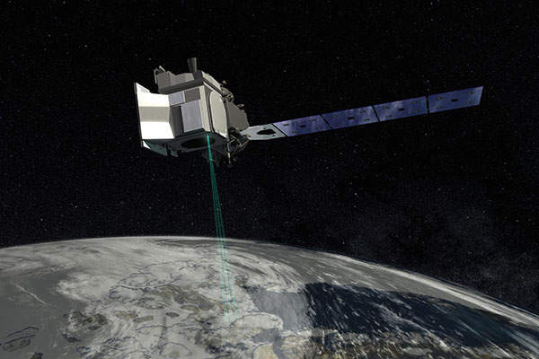 The ICESat-2 spacecraft will feature the ATLAS instrument, which will measure ice-sheet topography, sea-ice freeboard, cloud and atmospheric properties, as well as global vegetation. Image courtesy of Nasa's Goddard Space Flight Center.
