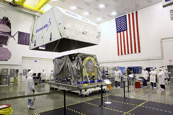 The satellite was built, assembled and tested at Orbital's manufacturing facility located in Dulles, Virginia. Image: courtesy of Orbital ATK.