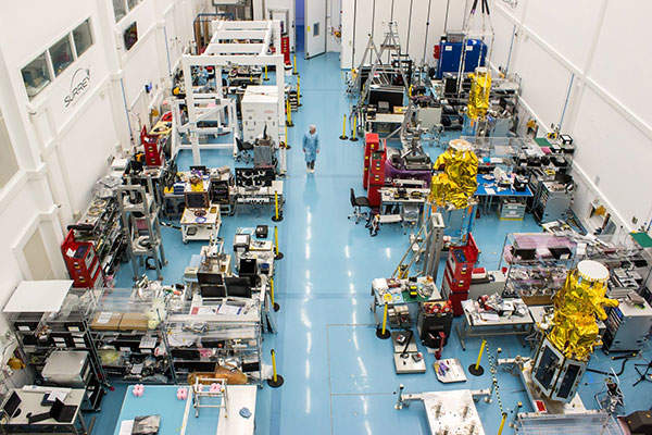 The DMC3 satellites in SSTL's assembly, integration and test hall. Image: courtesy of SSTL.