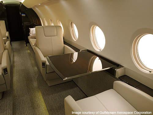 The Gulfstream G280's cabin can accommodate ten passengers.