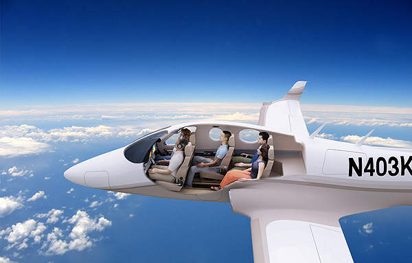 The five-seat configuration of Stratos 714 will feature the fifth seat behind the co-pilot's seat. Image courtesy of Stratos Aircraft.