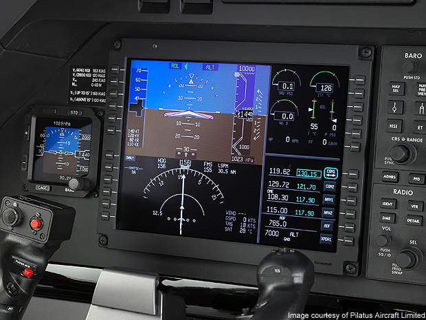 The PC-12NG's primary flight display.
