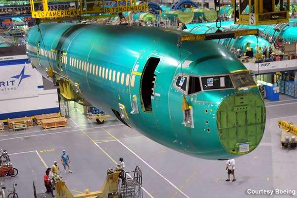 Joining of the BBJ3 fuselage at workshop.
