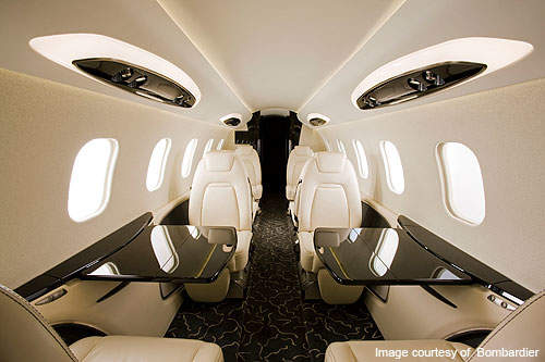 The seating arrangement in Learjet 85.