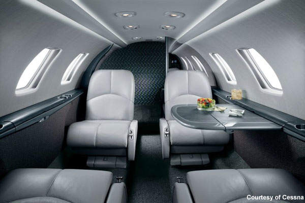 The CJ1 plus's 3.35m-long cabin is usually configured for four passengers.