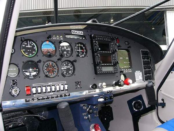 The Avidyne glass cockpit of the SA-160 accommodates two crew members and bulk cargo. Image courtesy of Ahunt.