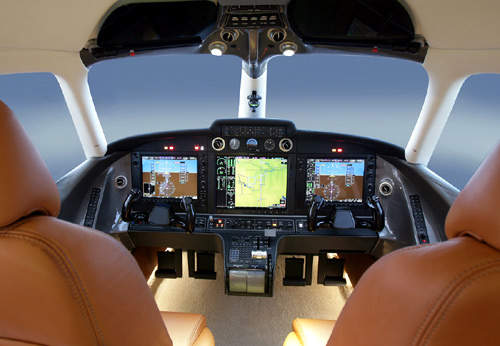 The D-Jet's avionics system is based on the Garmin G1000 avionics suite with two 12in primary flight displays (PFDs) and one 15in multifunction display.