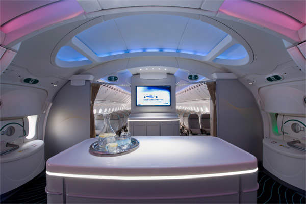 Boeing's third 787 Dreamliner, ZA003, has had the cabin refurbished to show the capabilities of the Dreamliner's interior. Image courtesy of Boeing.