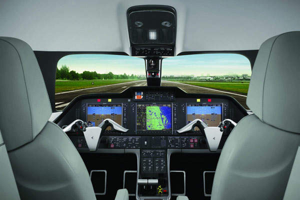 The Phenom 300 Prodigy flight deck with G1000 all-glass avionics suite supplied by Garmin.
