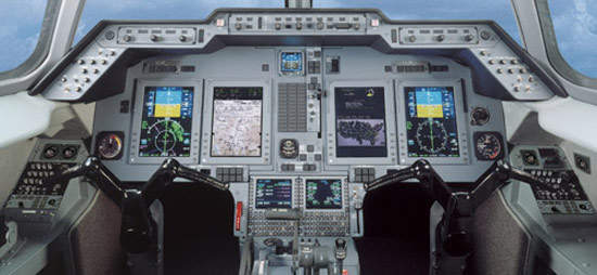 The Hawker 750 is equipped with the Rockwell Collins Pro Line 21 avionics suite with four 8in x 10in high-resolution Active Matrix Liquid Crystal Displays (AMLCD).