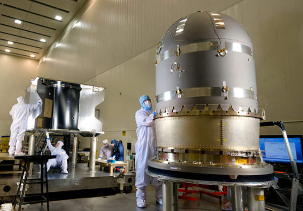 A cube-shaped hydrazine propellant tank was built by ATK Aerospace for the MAVEN. Image courtesy of Lockheed Martin.