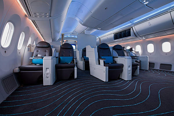 The interior view of the Boeing 787-9 Dreamliner aircraft. Image courtesy of Boeing.
