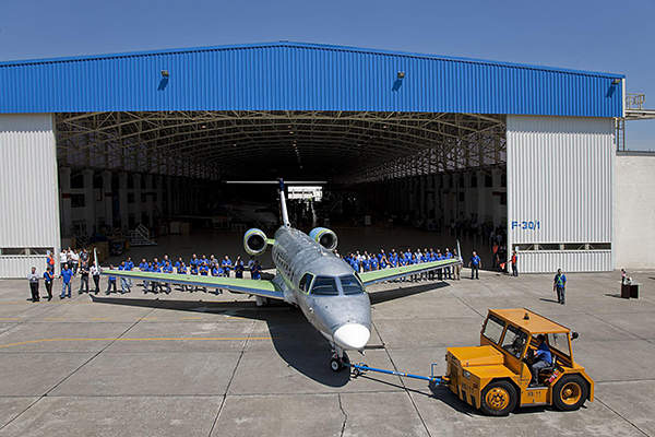 The first prototype of Legacy 500 was rolled out from the São José dos Campos facility in December 2011. Image courtesy of Embraer Executive Jets.