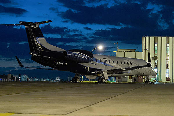 The aircraft is powered by AE3007A1E turbofan engines manufactured by Rolls-Royce. Image courtesy of Embraer Executive Jets.