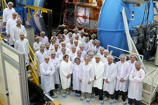 The testing team for the Sentinel-1A satellite at Thales Alenia Space in Rome, Italy. Image courtesy of Thales Alenia Space.