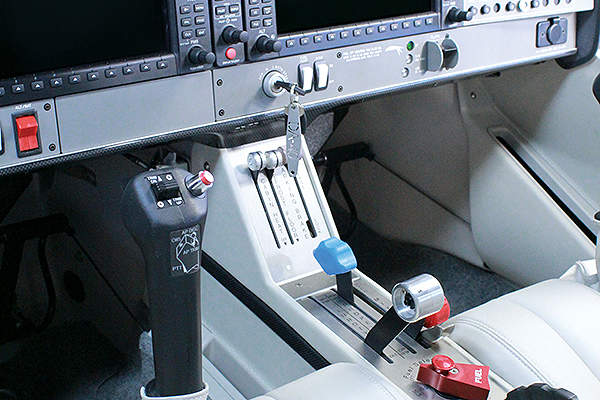 Two electrically operated rudder pedals are located in the cockpit. Image courtesy of Diamond Aircraft.