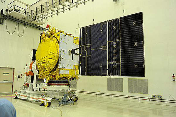 The satellite has one 2m and one 2.2m single shell-shaped reflector antennae. Image courtesy of ISRO.